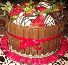 kit kat cake- I've seen it with m on top, but I think I like the chocolate covered strawberry idea even better