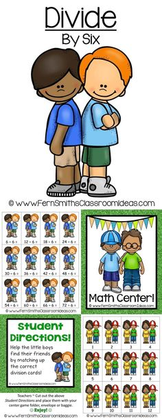Quick and Easy to Prep Division Center Game Divide By Six Concept for Back to School with a Cute Kid Theme! #TPT $Paid