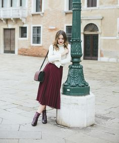 769e2bc0d New burgundy pleated high waist skirt midi length fall autumn winter wine  red