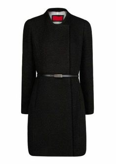 Black Stand Collar Long Sleeve Belt Outerwear pictures