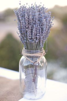 Love this mason jar with lavender and twine accent!