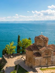 MACEDONIA - The Church of St. John at Kaneo on the edge of Lake Ohrid, Macedonia. The Balkans are stunningly beautiful. Albania, Bulgaria, The Places Youll Go, Places To See, Antigua Yugoslavia, Republic Of Macedonia, Strange Places, Chapelle, Future Travel