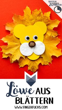 Make autumnal lion with leaves – craft in under 20 minutes - Kleinkind Basteln Cute Diy Crafts, Easy Fall Crafts, Winter Crafts For Kids, Crafts For Teens, Kids Crafts, Crafts Cheap, Craft Kids, Kids Diy, Summer Crafts
