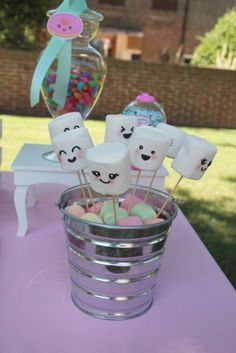 Kawaii birthday party marshmallow pops! See more party ideas at CatchMyParty.com!