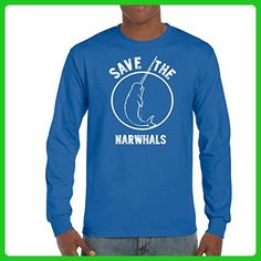 AW Fashion's Save the Narwhals - Unicorn of the See Men's Long Sleeve Tee (Medium, Royal Blue) - Fantasy sci fi shirts (*Amazon Partner-Link)