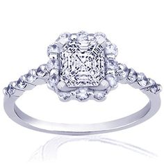 Halo Petite Diamond Engagement Ring In Pave setting