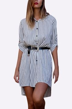 You will love this shirt dress for its simple, fashion and comfortable. Here we show you shirt dress with stripe pattern, splited hem and irregular hem. You can have a fashion look with you sandals or high knee boots.
