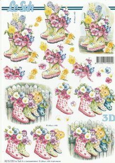 Feuille 3D à découper A4 - 8215.725 Bottes Fleuries - Decoupage Sheet Flowers • EUR 1,05 - PicClick FR