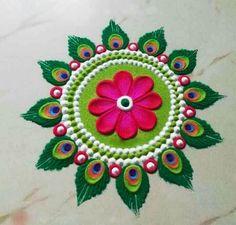 Easy Rangoli Designs Videos, Rangoli Designs Simple Diwali, Rangoli Simple, Free Hand Rangoli Design, Small Rangoli Design, Rangoli Ideas, Rangoli Designs With Dots, Beautiful Rangoli Designs, Easy Rangoli Patterns