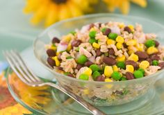 Confetti Tuna Rice Salad Lean on your pantry for dinner tonight - canned tuna goes beyond the tunafish sandwich! #DinnerDilemma #giveaway #sweepstakes