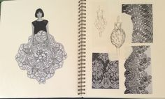 Fashion Sketchbook - fashion design research & sketches for a paper dress project; fashion portfolio // Anna Ackred