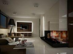 Pomysł na kominek narożny w salonie, pomysł na miejsce na drewno w salonie
