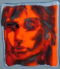 Red Orange Head Sept. 2012. Fused glass drawing. ©Linda Humphrey / KilnForms.