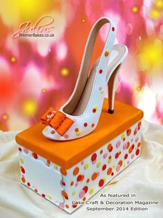 Created this shoe cake for Create and Craft Decoration magazine September 2014 issue. Full Tutorial available - complete with chocolate shoe box as cake. Shoe Box Cake, Shoe Cakes, Fondant Cakes, Cupcake Cakes, High Heel Cakes, Fashionista Cake, Handbag Cakes, Purse Cakes, Cake Craft