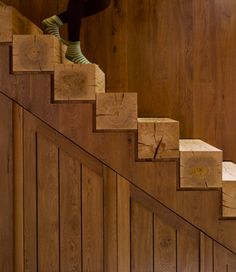 Solid Beam Stairs This solid beam wood stairs is the epitome of modern rustic design. Clean lines and minimalism are modern elements, while the warm burnished wood grains are nothing but rustic. Wooden Stairs, Rustic Stairs, Timber Staircase, Wooden Beam, Staircase Design, Stair Design, Small Staircase, Staircase Ideas, Painted Stairs