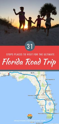 31 Stops for the Ultimate Florida Road Trip.  Florida with kids is one of our favorite family travel destinations! There are so many destinations to enjoy, but the ultimate adventure is a road trip to hit them all! Our itinerary starts in Destin on the Emerald Coast, and travels East then South then back North to St. Augustine, hitting tons of beaches, attractions, nature areas such as the Everglades, and so much more.  #Florida #roadtrip #familytravel #RVtravel #Floridabeaches