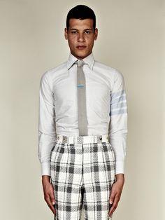 Thom Browne SS13 Men's Classic Four Bar Broad Cloth Shirt in blue / white at oki-ni
