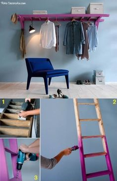 Great idea to use an old ladder for hanging clothes. Boutique Interior, Boutique Decor, Casa Retro, Old Ladder, Hanging Ladder, Diy Rangement, Diy Home Decor, Room Decor, Laundry Room Shelves