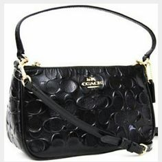 """Coach black debossed crossbody bag Coach crossbody bag in a black patent leather monogram. Very gently used. Looks new. No flaws inside or out. This will come with the gift box. 100% authentic. Light gold tone hardware, 22"""" - 44"""" adjustable drop strap. Measurements are 9""""x5""""x3"""". - Feel free to send me an offer through the offer button - No trades / No paypal Coach Bags Crossbody Bags"""