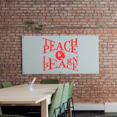 Teach Peace Learn Peace Vinyl Classroom Wall Decal - Bright Green / Lg 23.75x22.75
