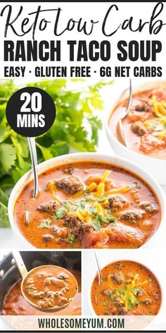 Easy Keto Low Carb Taco Soup Recipe - See how to make taco soup on the stove - it takes only 20 minutes + 5 ingredients! The whole family will love this easy low carb taco soup recipe with ranch dressing. It's so rich and flavorful, no one will guess it's Low Carb Taco Soup, Low Carb Soup Recipes, Low Carb Tacos, Keto Taco, Real Food Recipes, Diet Recipes, Cooking Recipes, Healthy Recipes, Keto Soup