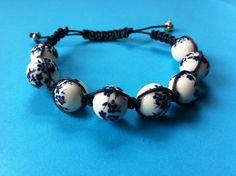 Blue and White Flower Shamballa Style Bracelet #MoggysMall, #etsy, #flower, #shamballa