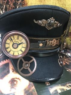 Steampunk Station Master Black wool military Hat with Monokel  55204f13e681