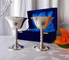 Vintage Wine Goblets Wedding Toast Blue Velvet Box Silver Plate