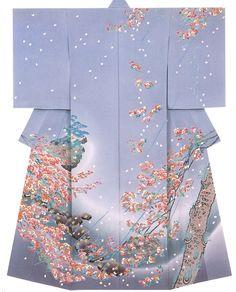 Kaga-Yuzen Homongi Kimono by Shin Sugiura Traditional Japanese Kimono, Traditional Dresses, Japanese Geisha, Kimono Fabric, Kimono Dress, Japanese Textiles, Japanese Prints, Costumes Japan, Kimono Japan
