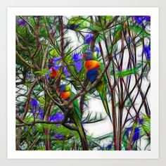 New on S6: https://society6.com/product/abstract-beautiful-rainbow-lorikeets-in-a-tree_print?curator=hereswendy