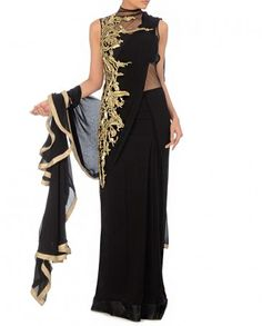 Black Sari Gown with Long Train