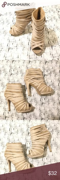 ASOS Cream Strappy Ankle Boots Peep Toe 5' Heel Gently used, however it has some scratch on back of the heel.Please see photos for exact details. ASOS Shoes Ankle Boots & Booties