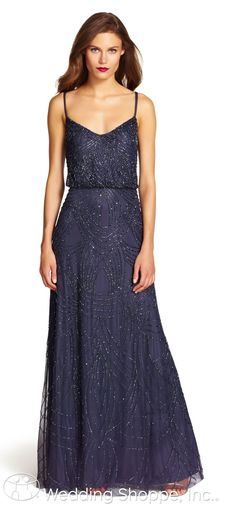 A dazzling navy beaded bridesmaid dress from Adrianna Papell. | The Wedding Shoppe | Celebrating 40 Years in the Wedding Industry