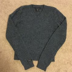 A&F 100% Lambswool sweater Like new 100% Lambswool sweater. Bluish gray in color. Is a medium, but runs small. Abercrombie & Fitch Sweaters V-Necks