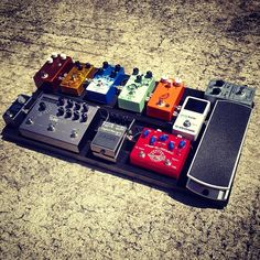 @tyleralive's pedal board. Just a really nice selection of pedals here.