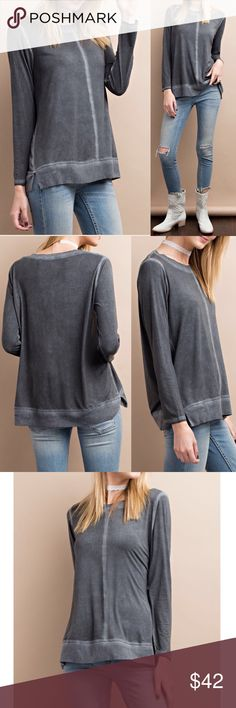 "🆕Long sleeve modal mineral oil wash slouchy top Slouchy tee featuring long sleeves  Soft modal fabric with mineral oil wash and stitched detail  Soft and stretchy  Lightweight Non-sheer  Material:  Self: 95% Rayon , 5% Spandex Contrast: 100% Polyester    Measurements:  Small: Armpit to Armpit: 20.5"" Length : 27.5""  Medium: Armpit to Armpit: 21.5"" Length : 27.5""  Large: Armpit to Armpit: 22.5"" Length : 28"" Pink Peplum Boutique Tops"