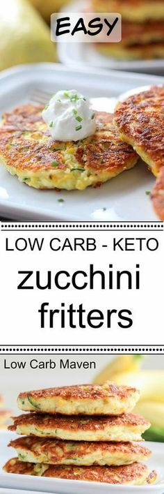 These easy zucchini fritters make a great lowcarb or keto breakfast or snack. grain-free, gluten-free