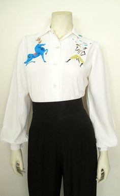 "1940's Hand Painted ""Big Top"" Blouse 