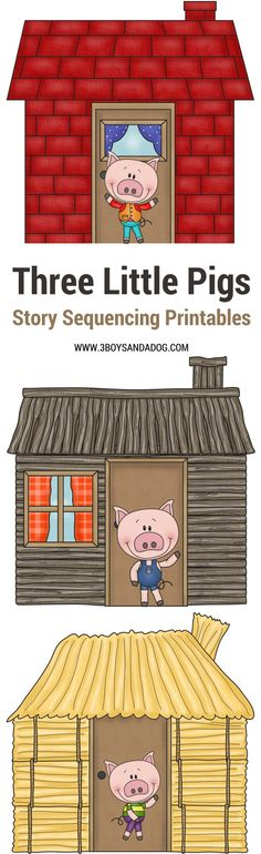 """These Three Little Pigs Sequencing - Printable Story Cards are fun and educational. Paired with the classic 3 Little Pigs Story, these free printables will help your preschooler understand sequencing. Simplify """"what comes first"""" understanding in a fun w Language Activities, Reading Activities, Literacy Activities, Activities For Kids, 3 Little Pigs Activities, Guided Reading, Sequencing Cards, Story Sequencing, Three Little Pigs Story"""