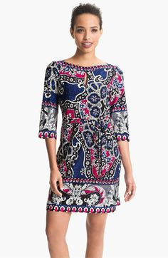 2d6d9ac2e34 Donna Morgan Printed Bateau Neck Jersey Shift Dress available at  Nordstrom Donna  Morgan