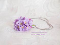 """Подвеска """"Сирень"""" - Холодный фарфор,цветы ручной работы,полимерная глина"""