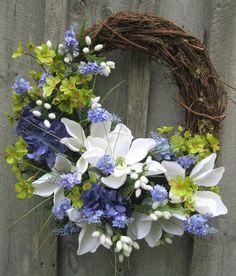 Floral Wreath, Spring Door Wreath, Summer Wreath, Wedding, Mothers Day Gift via… Diy Spring Wreath, Summer Door Wreaths, Easter Wreaths, Wreaths For Front Door, Diy Wreath, Holiday Wreaths, Grapevine Wreath, Wreath Ideas, Diy Fleur