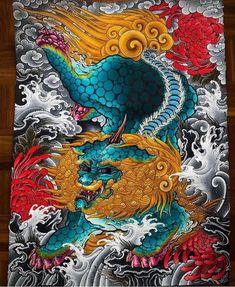Japanese Foo Dog, Japanese Art, Tattoo Sleeve Designs, Sleeve Tattoos, Foo Dog Tattoo, Iphone Wallpaper Sky, Fu Dog, Japan Tattoo, Arches Paper