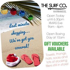 HO HO HO.. not long to go! We have your last minute gifts sorted. Gift Vouchers are the go but we also have stocking fillers ROUND TOWELS or thongs for the hard to by for people. Come in and see us today. Open until 6.30ish  #shopsurfco #shoplocal #surfco3280 #surf #presents #xmas #warrnambool #xmas #beach #beachxmas by thesurfco