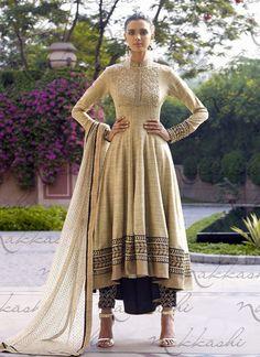 Cream Colored Designer Anarkali Suit