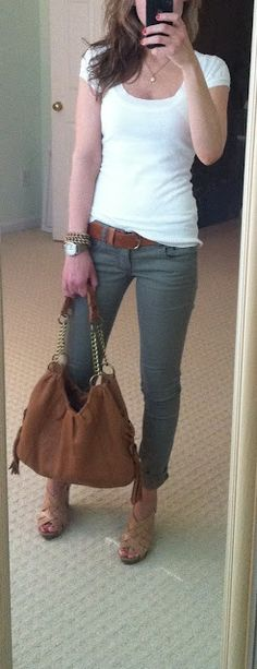 Olive skinny jeans, white shirt, brown bag & shoes & belt.