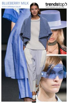Trendstop, catwalk-color-women-s-ss-2015-ss15_2bmilk: Elsewhere, heavily textured fabrics appeal to the touch in the form of Issey Miyake's slouchy outerwear design, while lightweight wovens stand out with layered skirts at Atsuro Tayama. This soft blue also works well across masc-femme Saint Laurent hats and futuristic visor eyewear at Kenzo.