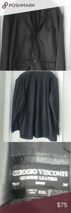 "GEROGIO VISCONTI  WOMEN'S LEATHER JACKET Genuine Women's Leather Jacket.  No stains, tares, holes or missing buttons.  Excellent condition, length 31"" Long.  Great jacket for the up coming winter weather. Haven't been worn much!!! Gerogio Visconti  Jackets & Coats"