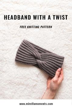 In this post, I will show you how to knit a headband with a twist. The headband is knit in English rib and has a classy twist in the middle (no seam! Easy Knitting, Knitting For Beginners, Loom Knitting, Knitting Patterns Free, Crochet Patterns, Knitting Tutorials, Knitting Machine, Stitch Patterns, Beginner Knitting Projects