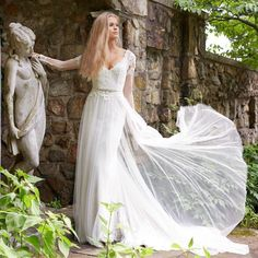 Bruidsjurk bohemien romantisch model gemaakt van chiffon